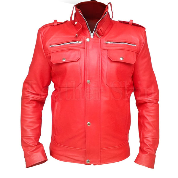 Men Red Front Up Collar Leather Jacket