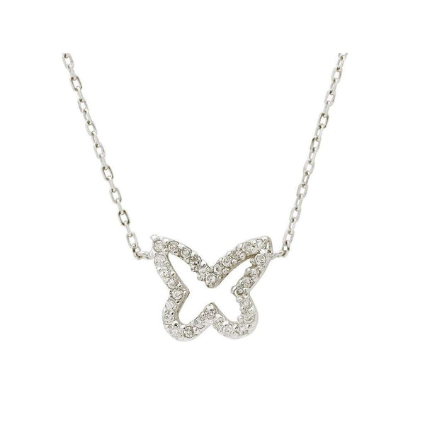 "Silver Rhodium Plated Butterfly Shape Cz Pendant Necklace 16""+2"""