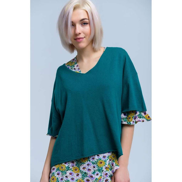 Short sleeve green sweater