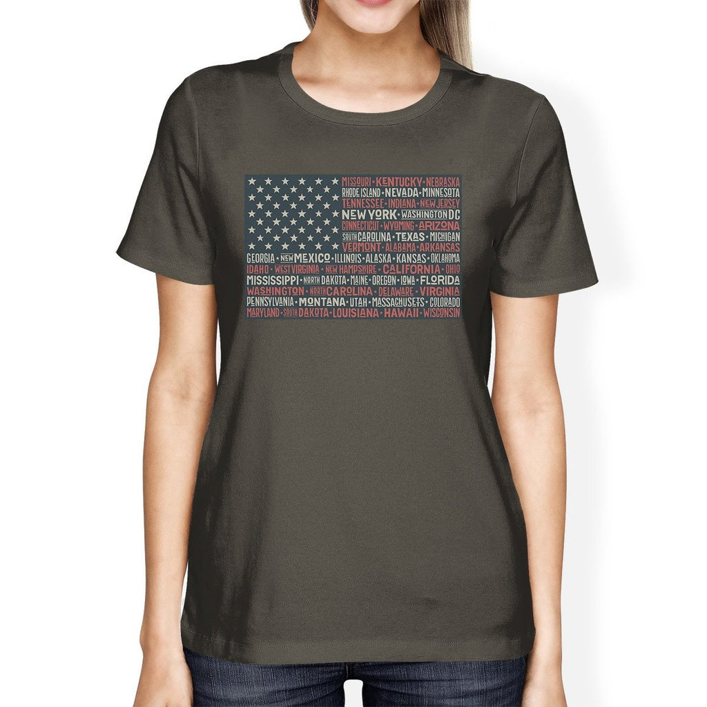 50 States American Flag Shirt Womens Dark Grey Cotton Graphic Tee
