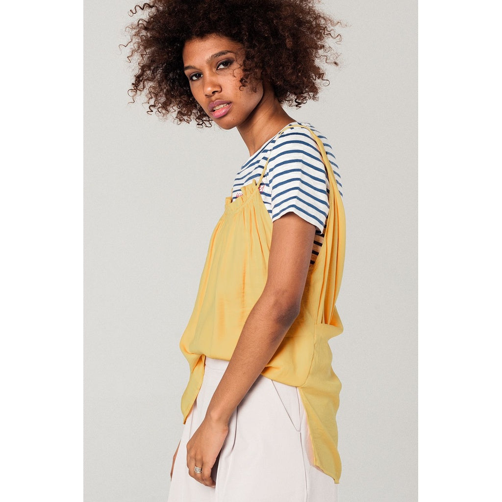 Mustard top with open back detail