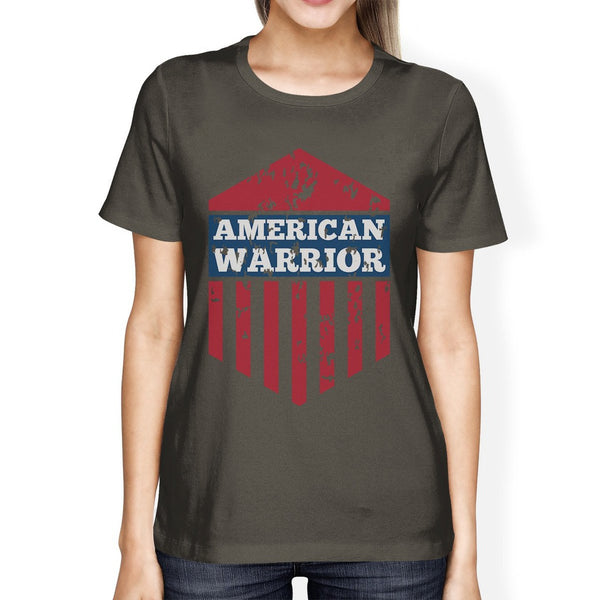 American Warrior Tee Womens Dark Grey Short Sleeve T-Shirt For Her