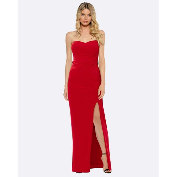 Strapless Evening Dress - Red