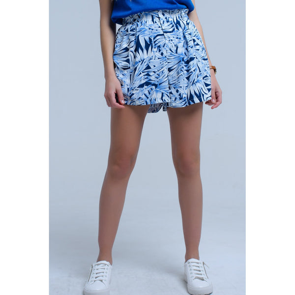 Blue shorts with leaf print
