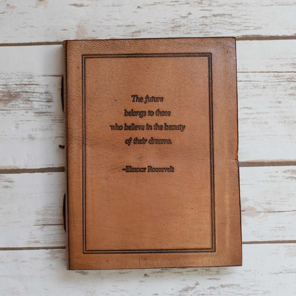 """The Future Belongs"" Handmade Leather Journal"