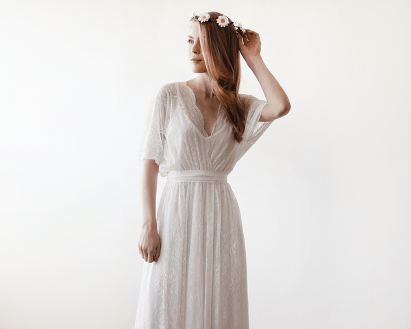 Floral lace ivory sheer maxi dress 1044