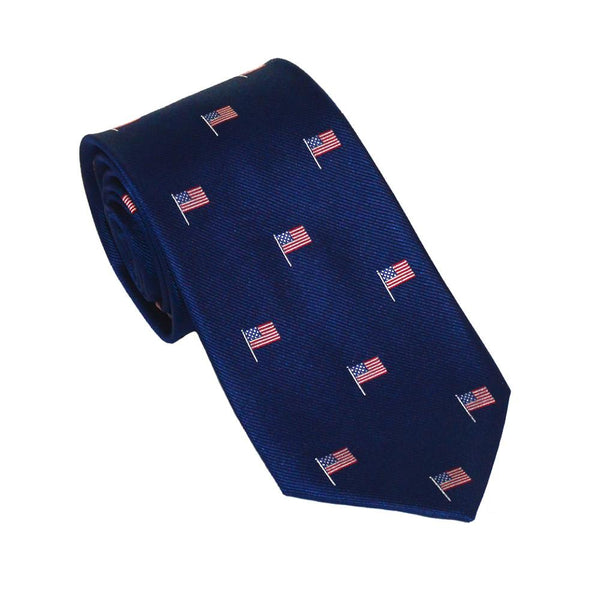 American Flag Necktie - Red White and Blue on Navy, Woven Silk