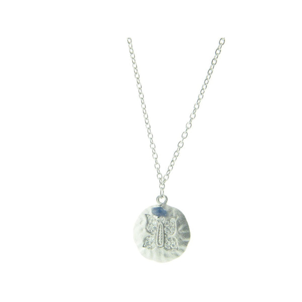"Embossed Cubic Zirconia Butterfly Hammered Disc Pendant Necklace in Sterling Silver, 16"" + 2"""