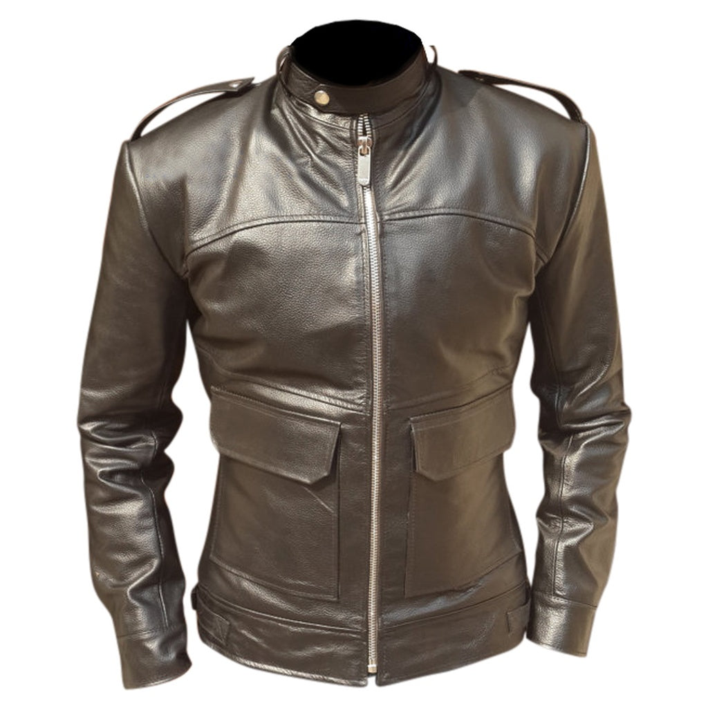 Men Dark Brown Biker Leather Jacket