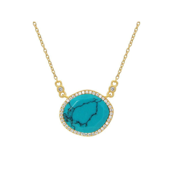 Turquoise Stone Necklace, Length: 16-18 Inches | Sterling Silver