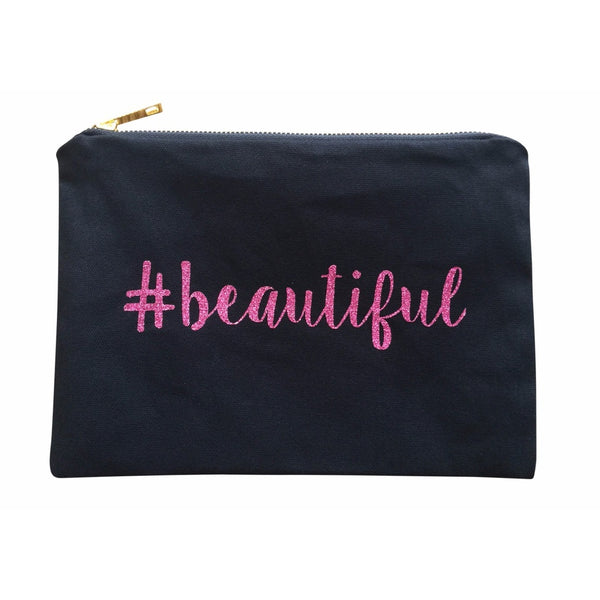 Pink BEAUTIFUL Glitter Makeup Canvas Bag -- Available on Amazon Prime