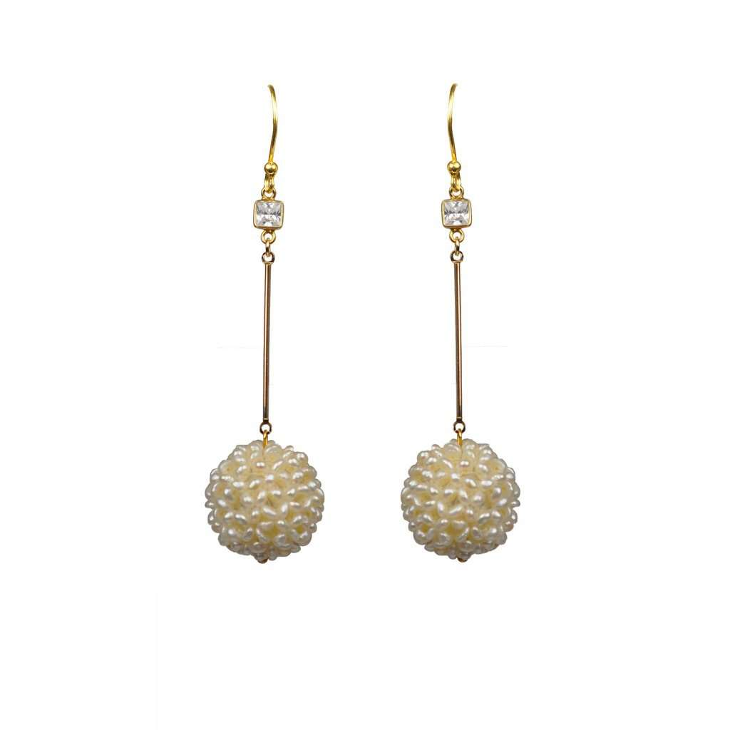 White Topaz Pearl Cluster Ball Vermeil Earrings