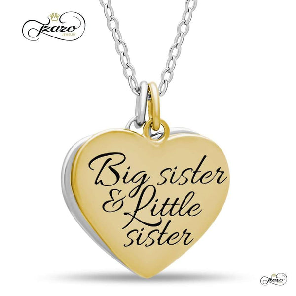 Sister Double Heart Necklace, 925 Silver, 14K Gold and Silver Plated Two Heart Necklace