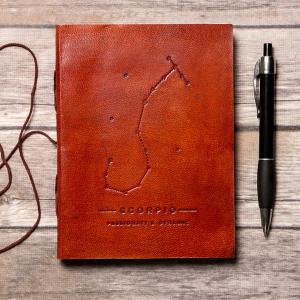 Scorpio Zodiac Handmade Leather Journal