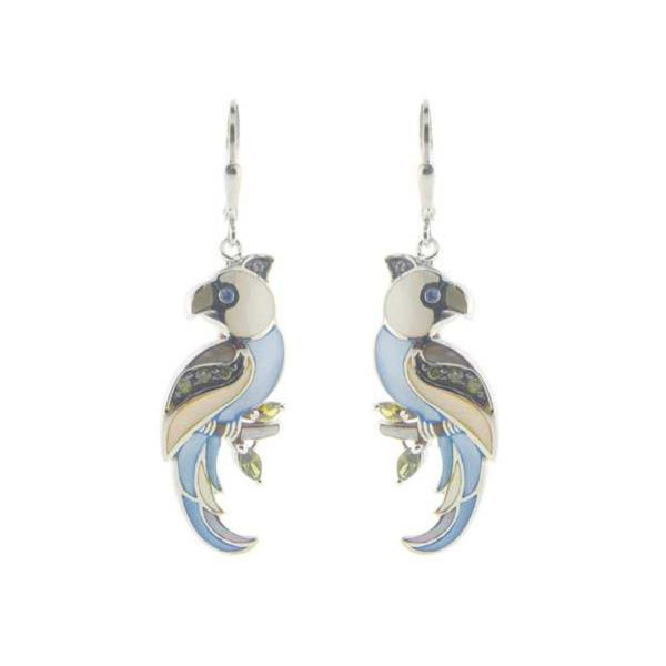 FRONAY COLLECTION Mother of Pearl Parrot Earrings   925 Sterling Silver, French Clasp