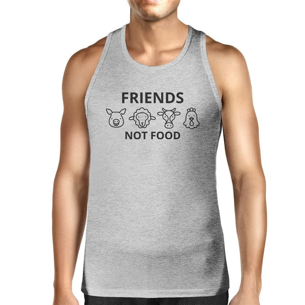 Friends Not Food Men's Grey Cute Tank Top Animal Advocate Quote Tee