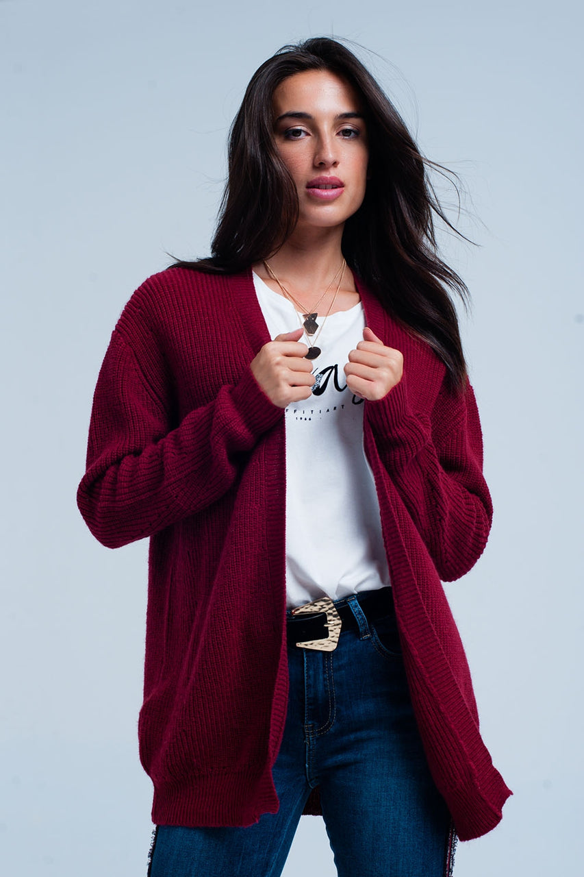 Maroon angora cardigan with long sleeves