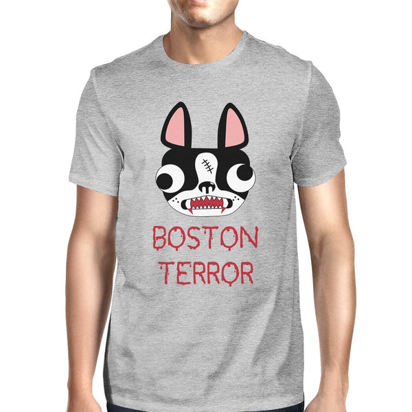 Boston Terror Terrier Mens Grey Shirt