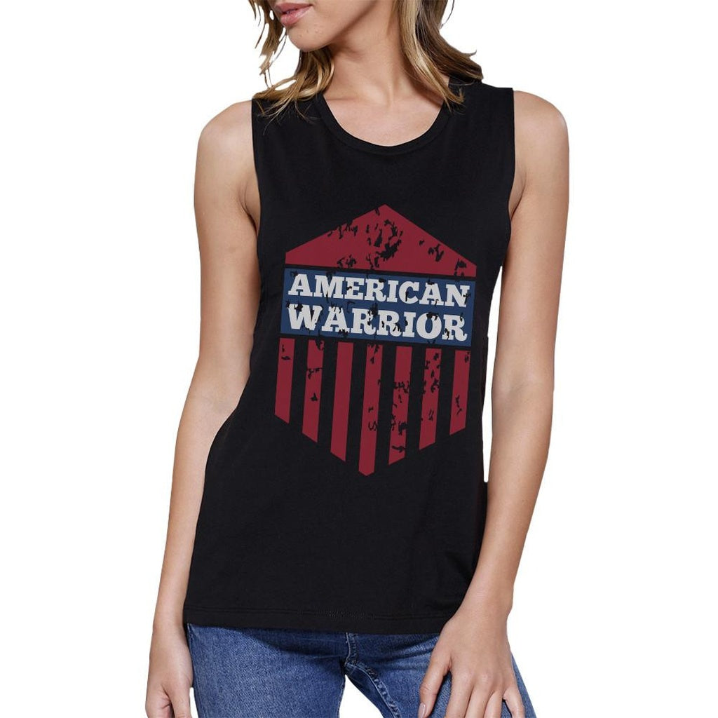 American Warrior Black Crewneck Cotton Graphic Muscle Tee For Women