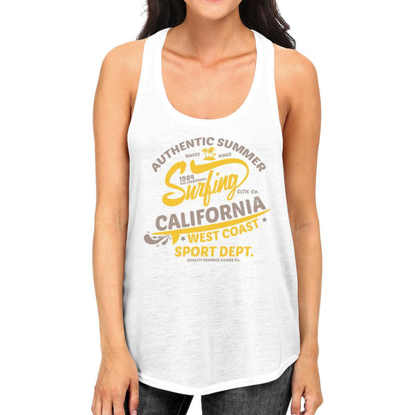 Authentic Summer Surfing California Womens White Tank Top