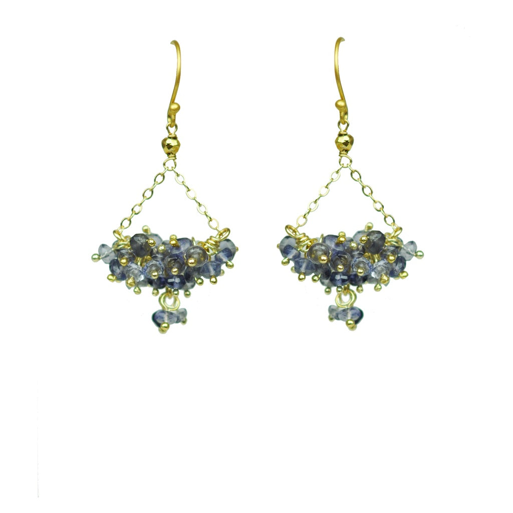 Iolite Cluster Chandelier Earrings