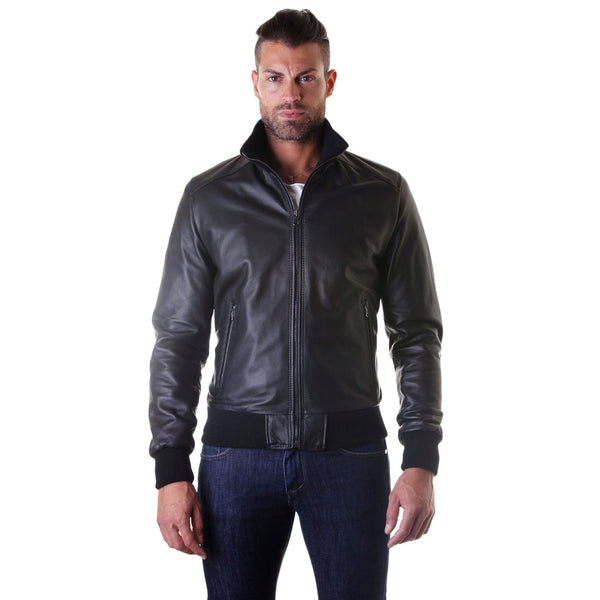 Men's Leather Jacket, genuine soft leather, style bomber, central zip, black color, mod. 107
