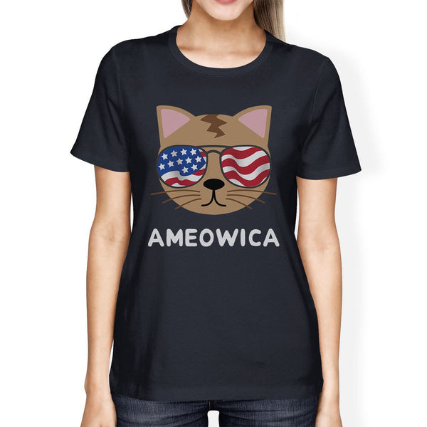 Ameowica Womens Navy Short Sleeve Tee Cute 4th Of July T-Shirt Idea