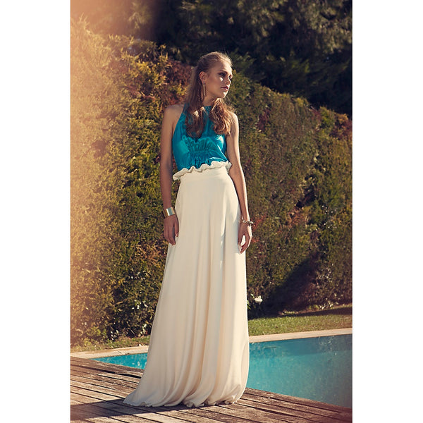 Modal White overprinted High Waist Long Skirt