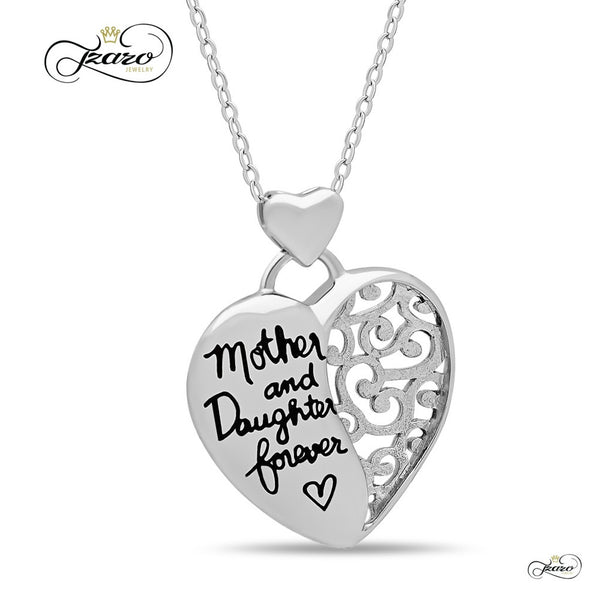 "Elegant Mother Daughter Necklace, 925 Silver, Silver Plated ""Mother & Daughter Forever"" Necklace"