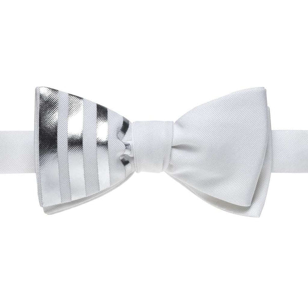 White Bow Tie With Vertical Silver Stripes
