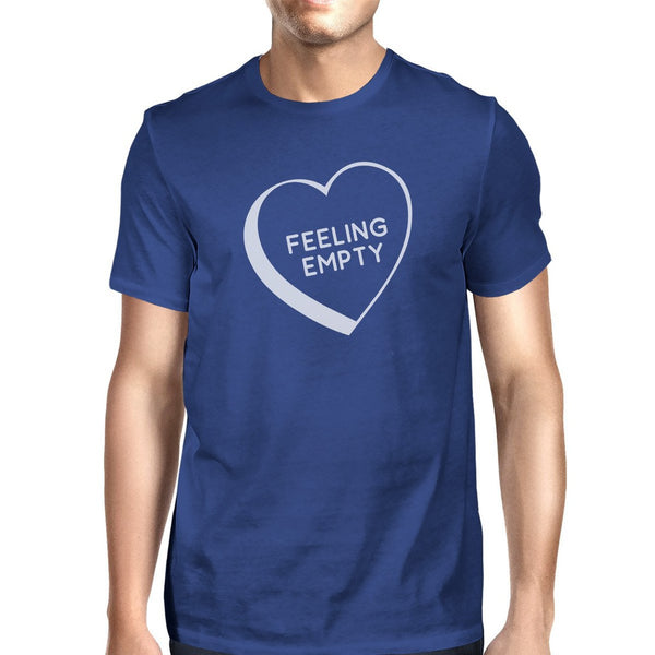 Feeling Empty Heart Mens Blue Round Neck T-Shirt Trendy Graphic Top