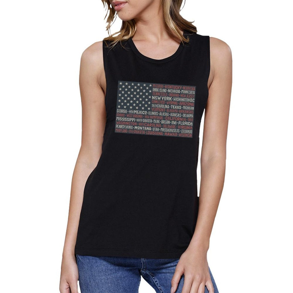50 States Us Flag Womens Black Muscle Top Cap Sleeve For 4 Of July