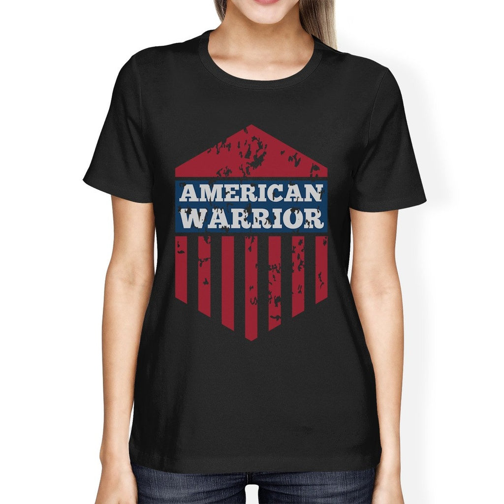 American Warrior Tee Womens Black Cotton Tshirt American Flag Shirt
