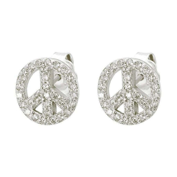 Sterling Silver Cubic Zirconia CZ Peace Sign Fashion Stud Earrings