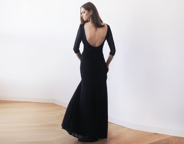 Black Floral Lace Maxi Gown With Open-Back  1118
