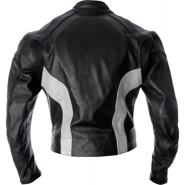 Black White Biker Leather Jacket
