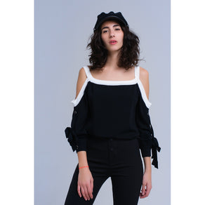 Black cold shoulder sweater with rings