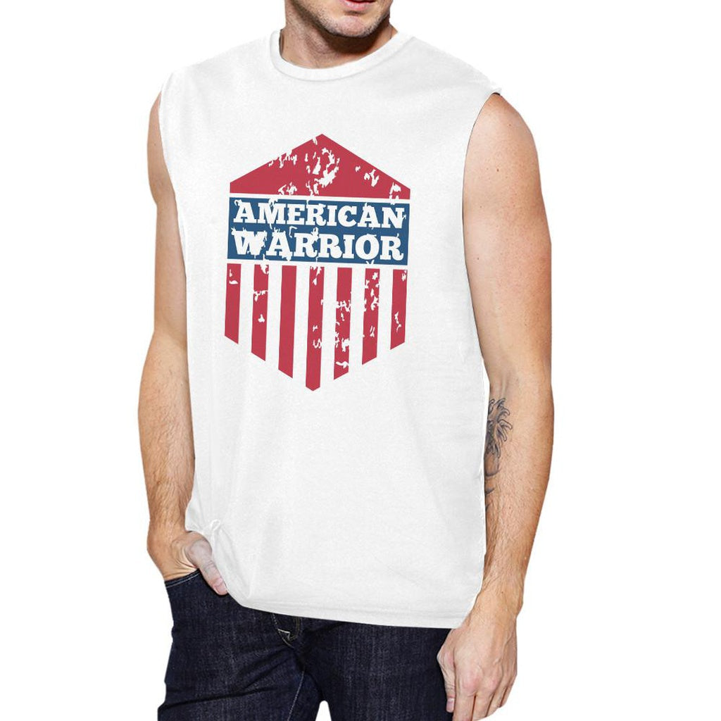 American Warrior White Crewneck Cotton Graphic Muscle Tanks For Men