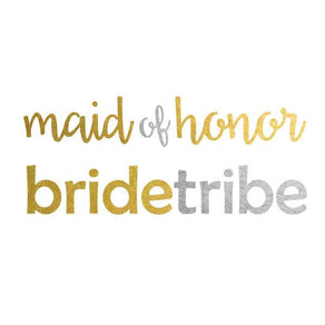 2 PACK BrideTribe and Maid of Honor Metallic Temporary Tattoo