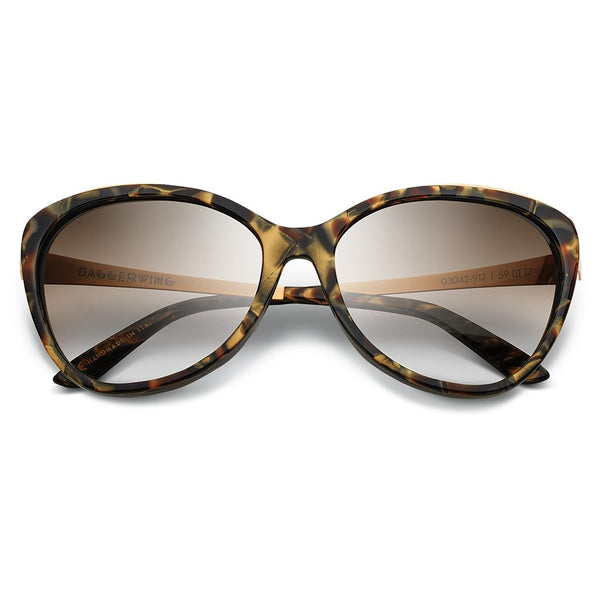 Daggerwing: Polished Tigers Eye - Brushed Gold / Bronze Gradient Lens