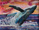 www.colourstreams.com.au  Lorraine Turner Fabric Collage Workshop Whale of a Good Time 2020 August Macleay Island Colour Streams Aurafil
