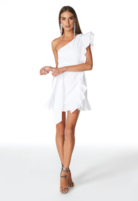 Sliding Doors Ruffle Dress – WHITE