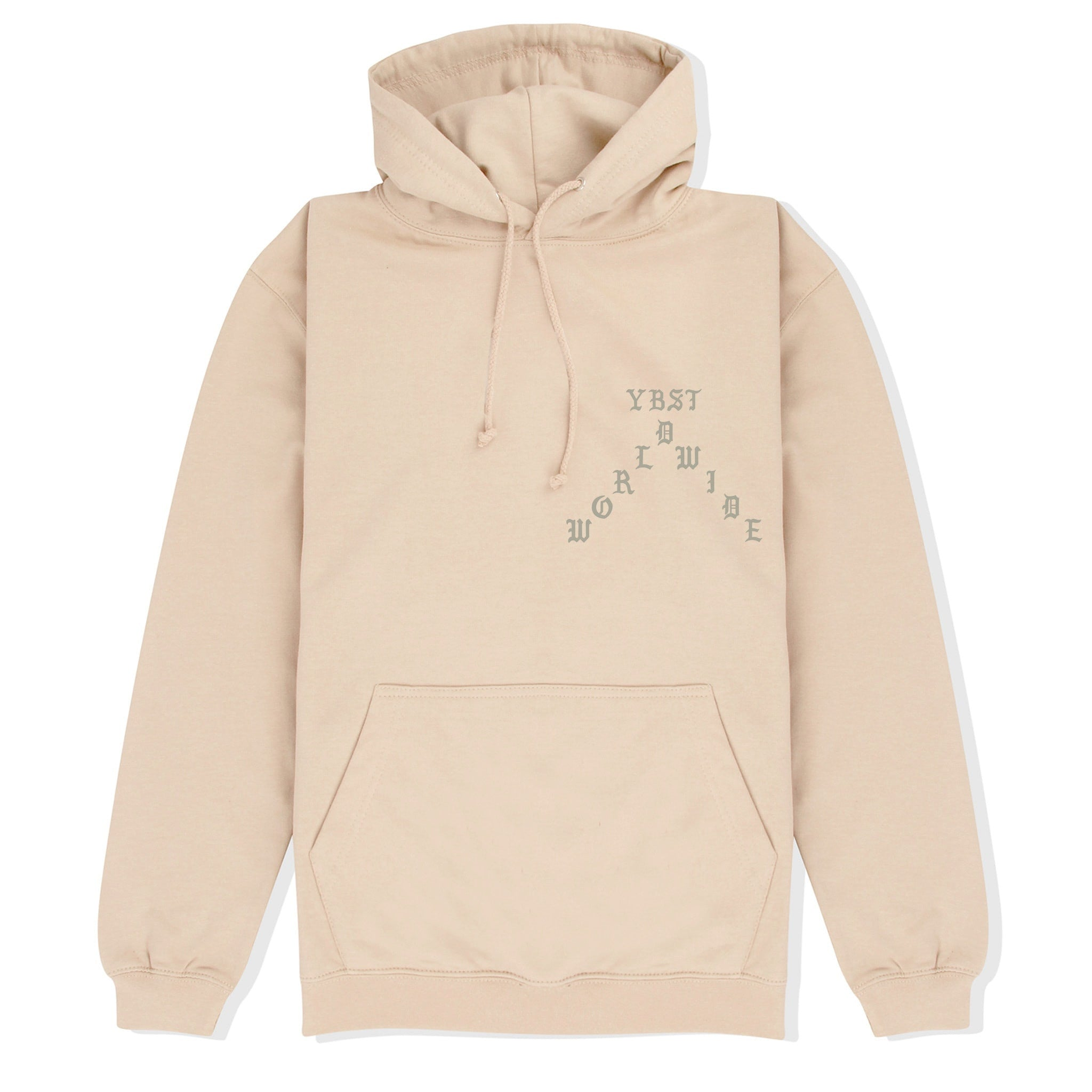 Beige YBST Gothic Hoodie Front