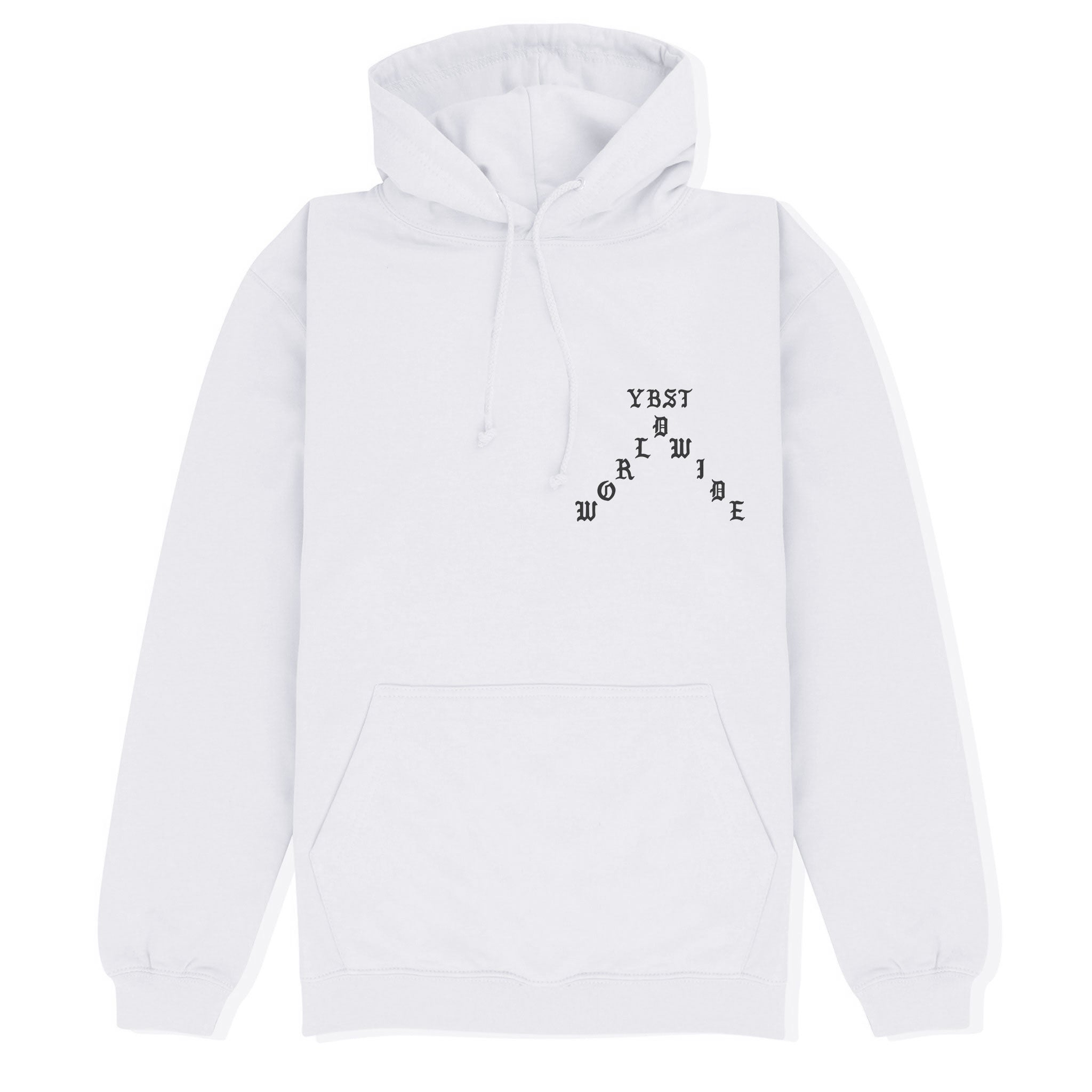 YBST Gothic Hoodie White and Black Front