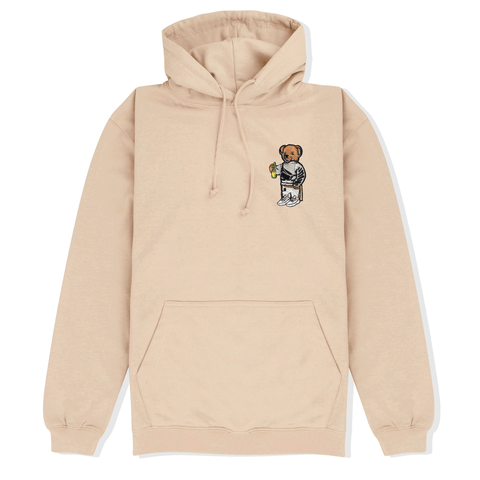 Bear Embroidered Hoodie in Beige