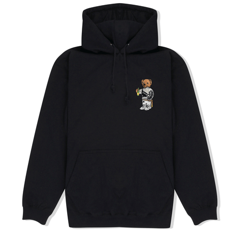 Bear Embroidered Hoodie in Black