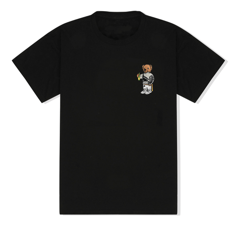 Bear Embroidered T-Shirt in Black