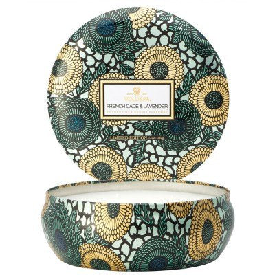 French Cade Lavender - 3 Wick Candle In Decorative Tin - EscentialsLA