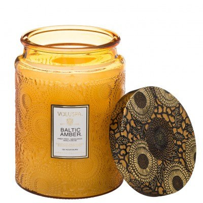 Baltic Amber - Large Embossed Glass Jar with Metallic Lid Candle - EscentialsLA