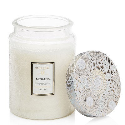 Mokara - Large Embossed Glass Jar with Metallic Lid Candle - EscentialsLA
